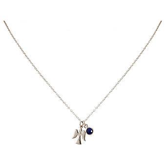 Damen - Halskette - Anhänger - Engel - Schutzengel - 925 Silber - Saphir - Blau - 1,3 cm