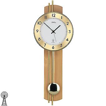 Wall clock with pendulum radio wood rear wall veneer beech brass bars