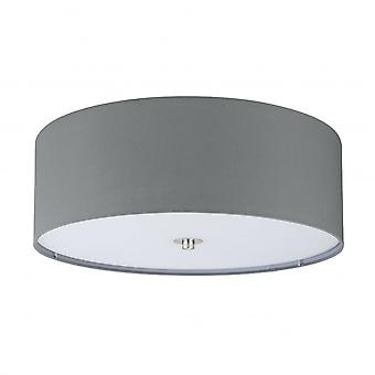 Eglo Pasteri 3 X E27 Grey Drum Shade Ceiling Light