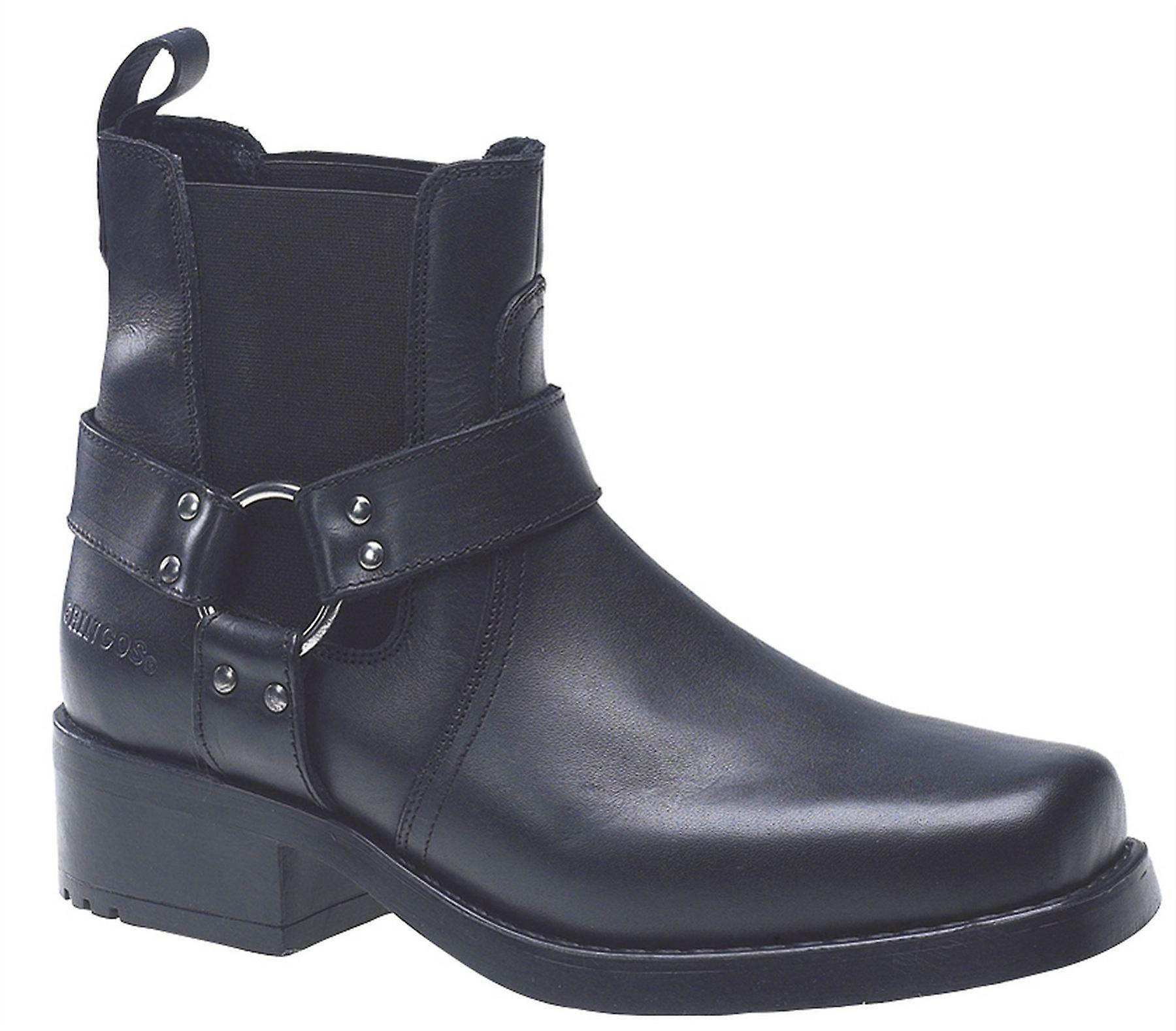 Mens Leather Slip On Gusset Gusset Gusset Harness Square Toe Ankle Biker Boots Shoes 94bbb2