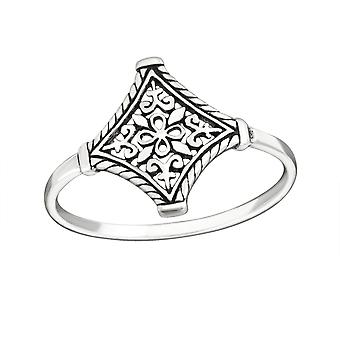 Patterned - 925 Sterling Silver Plain Rings - W25128X