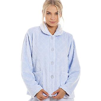 Camille Womens Supersoft Light Blue Button Front Diamond Print Bed Jacket
