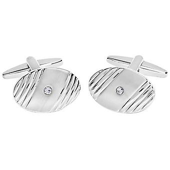 David Van Hagen Shiny Brushed Oval Ribbed Design Crystal Cufflinks - Silver/Clear