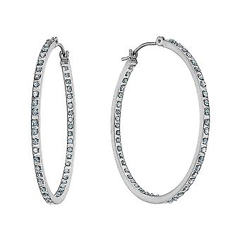 Accent Diamond In and Out Hoop Earrings in 14K White Gold (1 1/3 Inch)