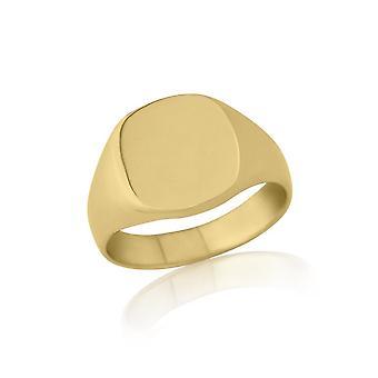 Mariage Star anneaux en forme de coussin 9ct poids lourd or jaune chevalière