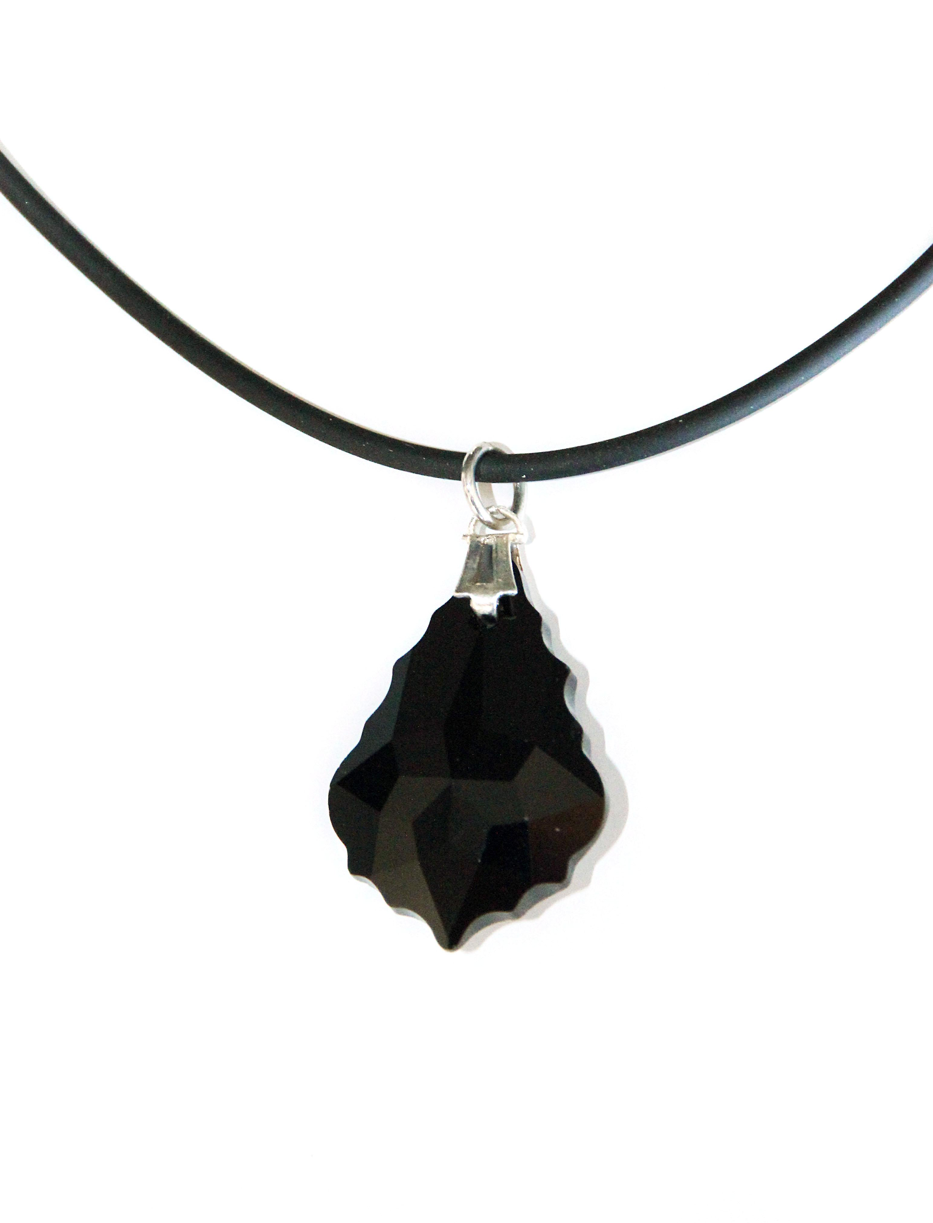 Waooh - Jewelry - Swarovski / Pendant matte black rubber cord and tear - Wholesale