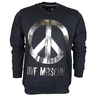 Moschino Regular Fit Round Love Moschino Silver Logo Black Sweatshirt