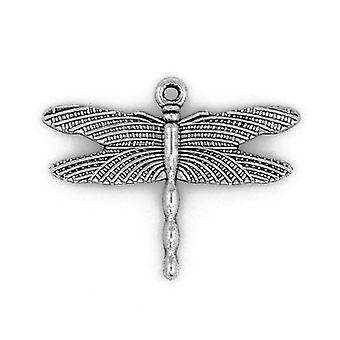Packet 10 x Antique Silver Tibetan 36mm Dragonfly Charm/Pendant ZX09245