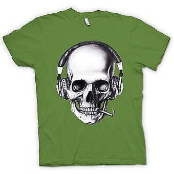 Mens T-shirt-schedel DJ koptelefoon