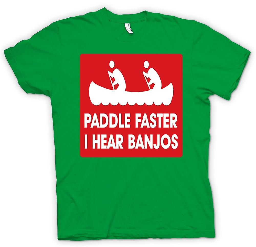 Mens T-shirt - Paddle Faster I Hear Banjos - Quote