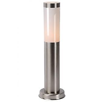 Lucide Kibo Modern Round Metal Satin Chrome Bollard Light