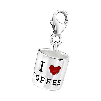 Coffee Cup - 925 Sterling Silver Charms with Lobster - W11690X