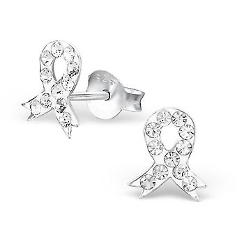 Ribbon - 925 Sterling Silver Crystal Ear Studs - W4062X