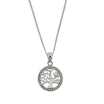 TOC Sterling Silver Rhinestone Set Tree of Life Round Pendant Necklace 18