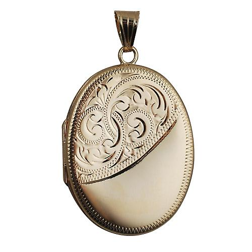 9ct Gold 35x26mm half engraved flat oval Locket