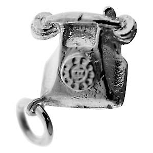 Silver 12x13mm solid Telephone charm