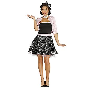 Womens 1950s Black Polka Dot Fancy Dress Costume