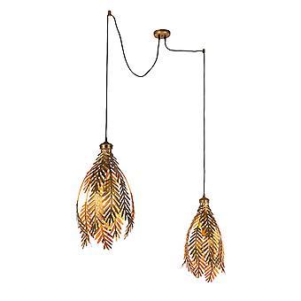 QAZQA Vintage Pendant Lamp blad 2 Gold - Botanica