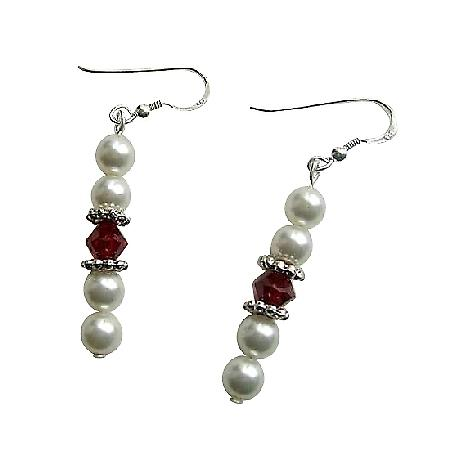 Swarovski White Pearl Siam Red Crystal Sterling Silver Earrings