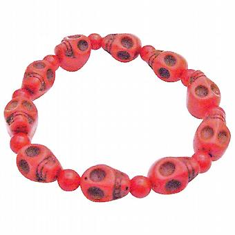 Fashion Coral 10MM Skull Bead Stretchable Bracelet