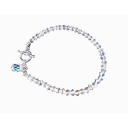 Swarovski AB Crystal Teardrop Bridal Bracelet Handcrafted Custom Bracelet