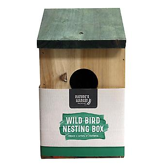 Natures Market BF017 Wooden Wood Small Wild Bird House Hanging Nesting Box