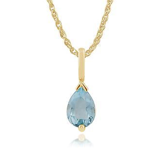 9ct Yellow Gold 0.72ct Blue Topaz Single Stone Classic Pear Pendant on Chain