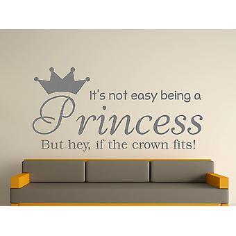 Wird eine Prinzessin Kunst Wandaufkleber - grau