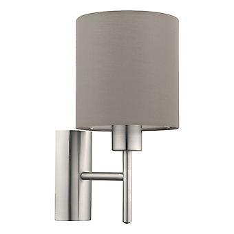Eglo - Pasteri solo lámpara de pared en acabado níquel satinado con topo tela sombra EG94925