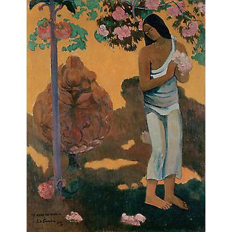Woman Holding Flowers,Paul Gauguin,50x40cm