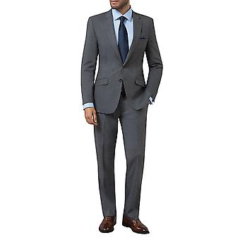 Dobell Mens grau Haifischhaut 2 Stück Anzug Slim Fit Kerbe Revers