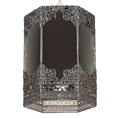 Endon NE-96061 Non Electric Pewter Pendant Shade With Mirrored Panels