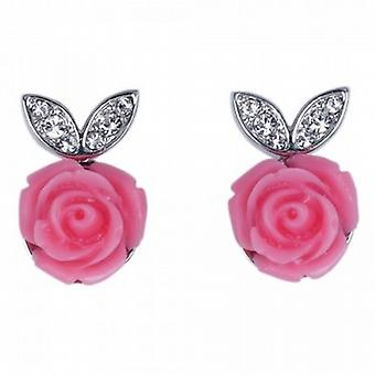 Park Lane Ladies Pink Rose Silvertone Glass Set Earrings