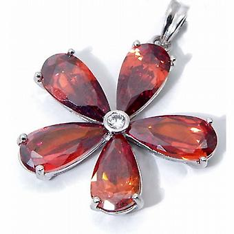 Jsuk Sterling Silver Flower Garnet Cz Pendant on 18 Inch Chain