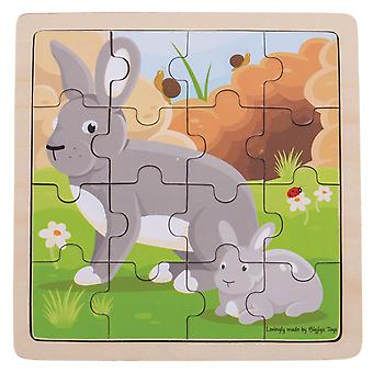 Bigjigs Toys Educational Chunky Wooden Rabbit & Kitten Jigsaw Puzzle Kids Child