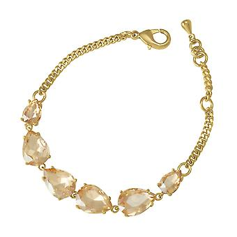 Eternal Collection Seduction Teardrop AB Topaz Crystal Gold Tone Fashion Bracelet