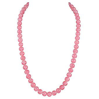 Éternelle Collection carnaval rose corail tchèque Crackle fermoir Long collier verre