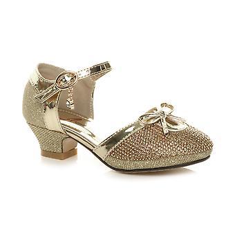 Ajvani meisjes lage hak glitter Diamante boog gesp partij schoenen