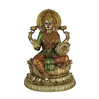 Golden Lakshmi Hindu Goddess On Lotus Flower Statue