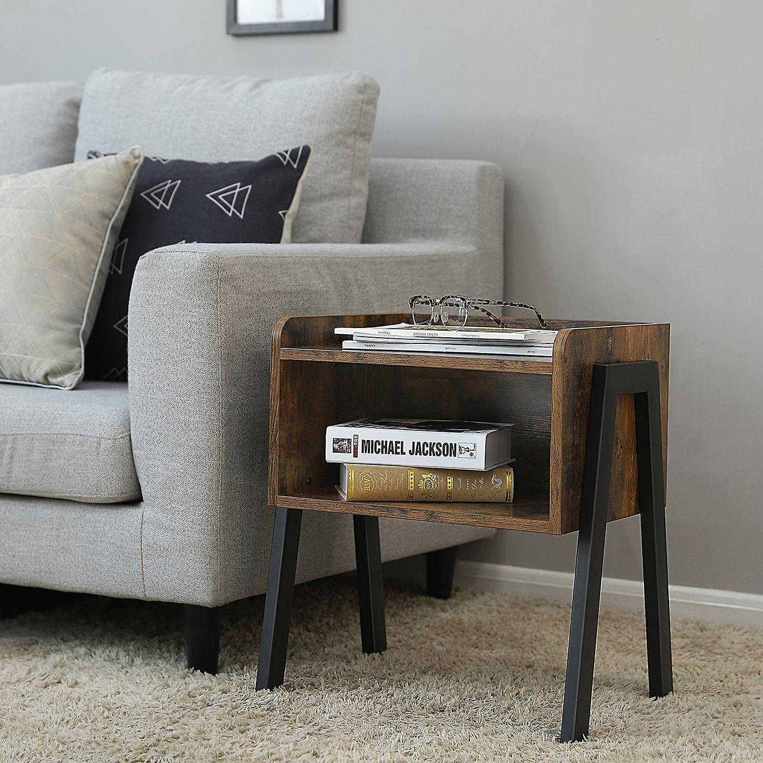 Side table/nightstand with open compartment