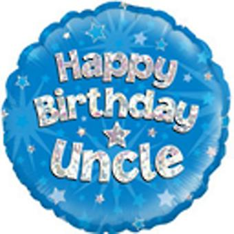 Oaktree 18 Inch Holographic Foil Happy Birthday Uncle Balloon