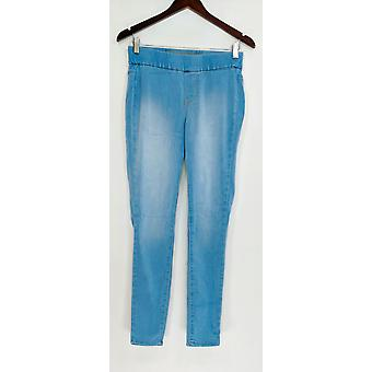Denim & Co. Leggings Distressed Pull-On Stretch Blue A295070