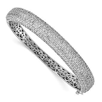 925 Sterling Silver Pave Polished Prong set Rhodium-plated Rhodium Plated With Cubic Zirconia Hinged Bangle Bracelet