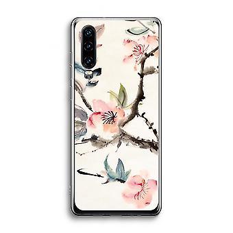 Caso transparente de Huawei p30-flores de japenese