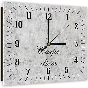 Dekorative Uhr mit Bild, helle Stein Carpe Diem