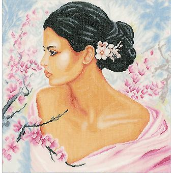 LanArte Lady With Blossoms On Linen Counted Cross Stitch Kit-15.75