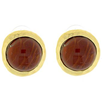 Kenneth Jay Lane Hammered Gold & Ruby Button Earrings