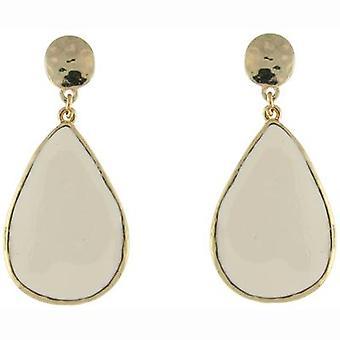 Gold Hammered and White Enamel Teardrop Earrings