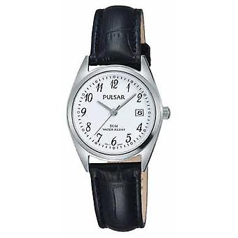 Pulsar Womens Black Leather Strap White Dial PH7447X1 Watch