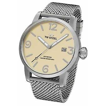 TW Steel Mens Maverick Steel Mesh Strap Cream Dial 45mm MB1 Watch